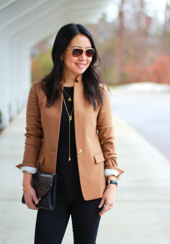 J.Crew Regent Blazer, camel blazer, camel jacket, black camel and gold, JBrand jeanas, tall black boots, Madewell knot shine necklace, leopard clutch, understated classics, fall trends