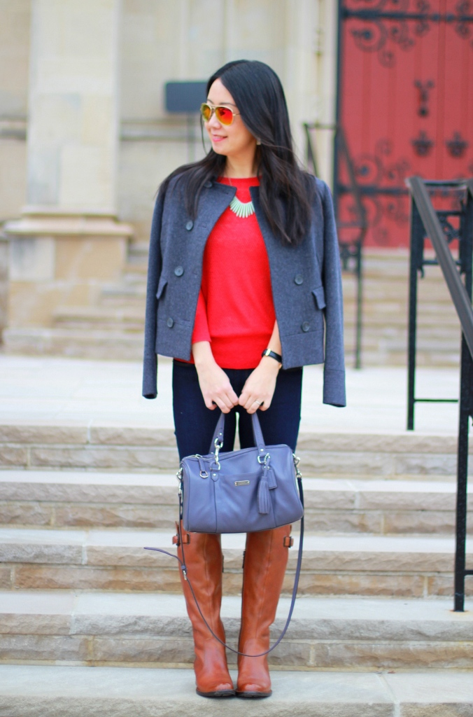 Banana Republic sweater, Born Roxie boots, orange sweater