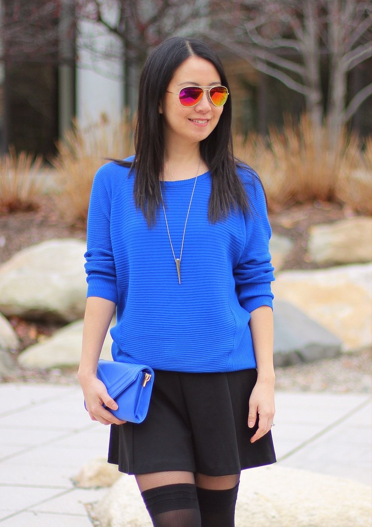 cobalt blue sweater, black skater skirt, over the knee tights, OTK