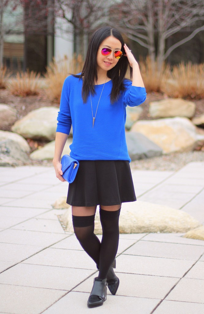cobalt blue sweater, black skater skirt, Circus by Sam Edelman Reese ankle boots, over the knee tights, OTK