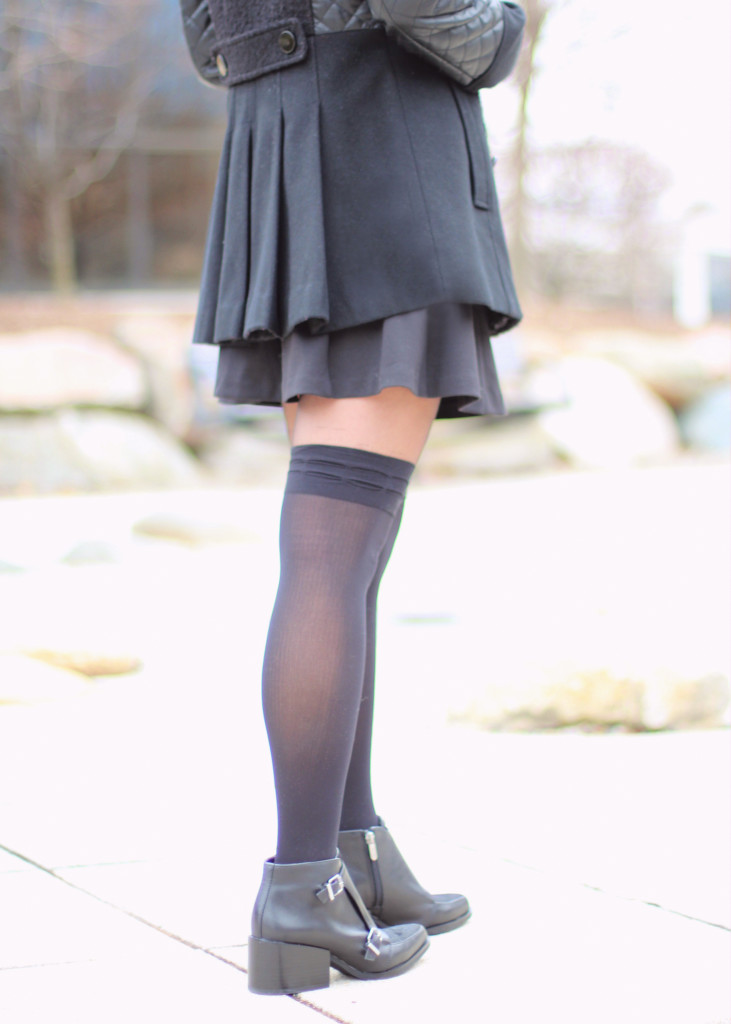 black skater skirt, Circus by Sam Edelman Reese ankle boots, over the knee tights, OTK, mixed media coat