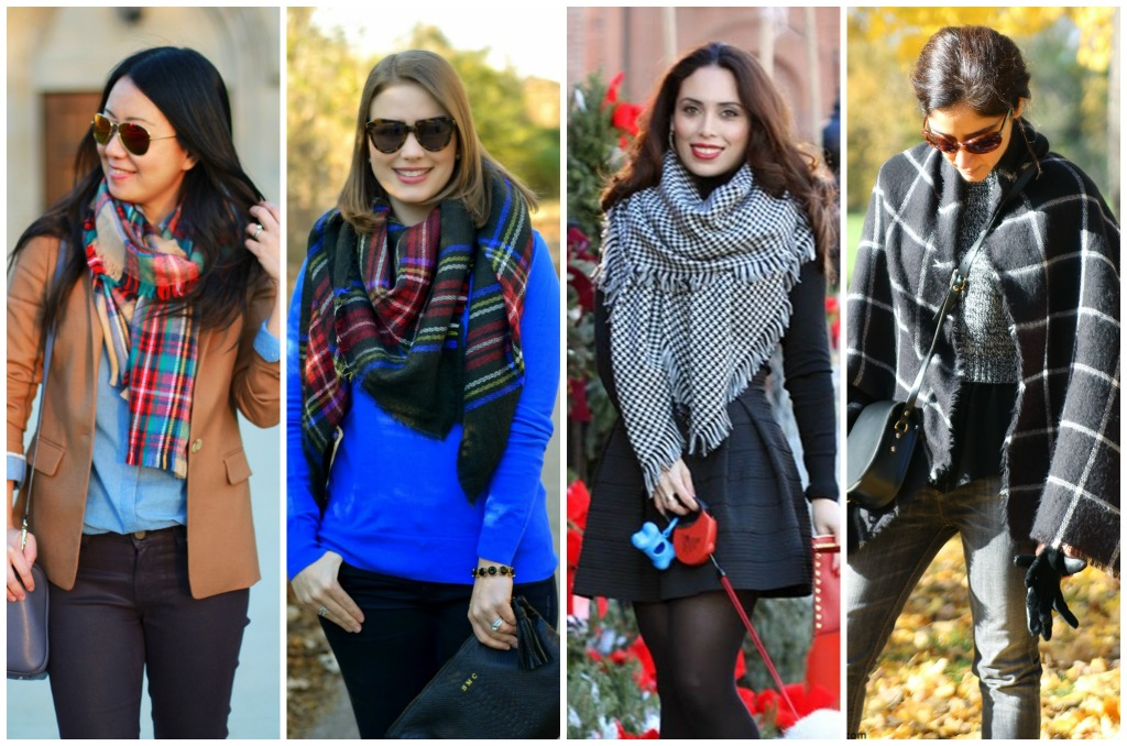 blanket scarf, fall trends, plaid scarf, tartan, checkered, houndstooth
