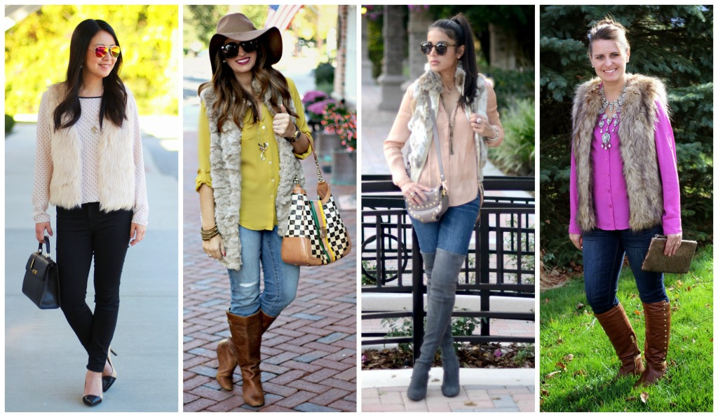 faux fur vest, faux fur, OTK boots, polka dots, floppy hat, fall trends