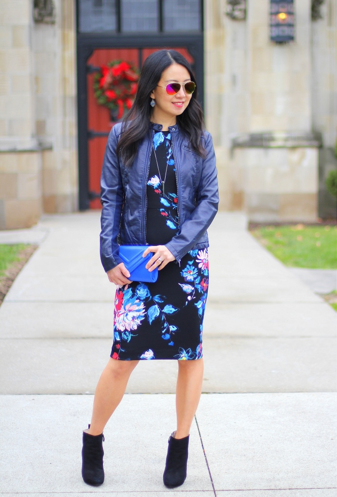 Betsey Johnson floral dress, Express (minus the) leather moto jacket, Zara booties, cobalt blue, holiday outfit