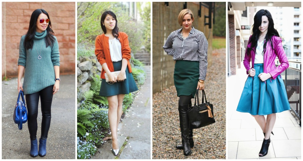 green, teal, hues of green, fall trends, fall colors, oversized sweater, midi skirt, pink and teal, orange and teal, gingham