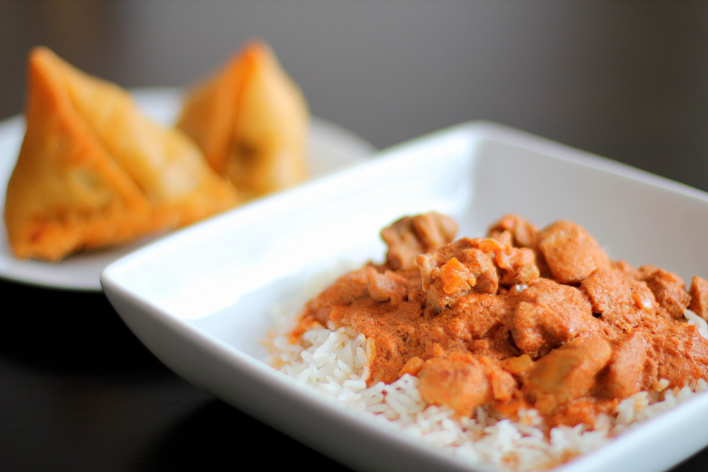 Butter Chicken, Chicken Makhani, Indian cuisine, spicy food, samosas