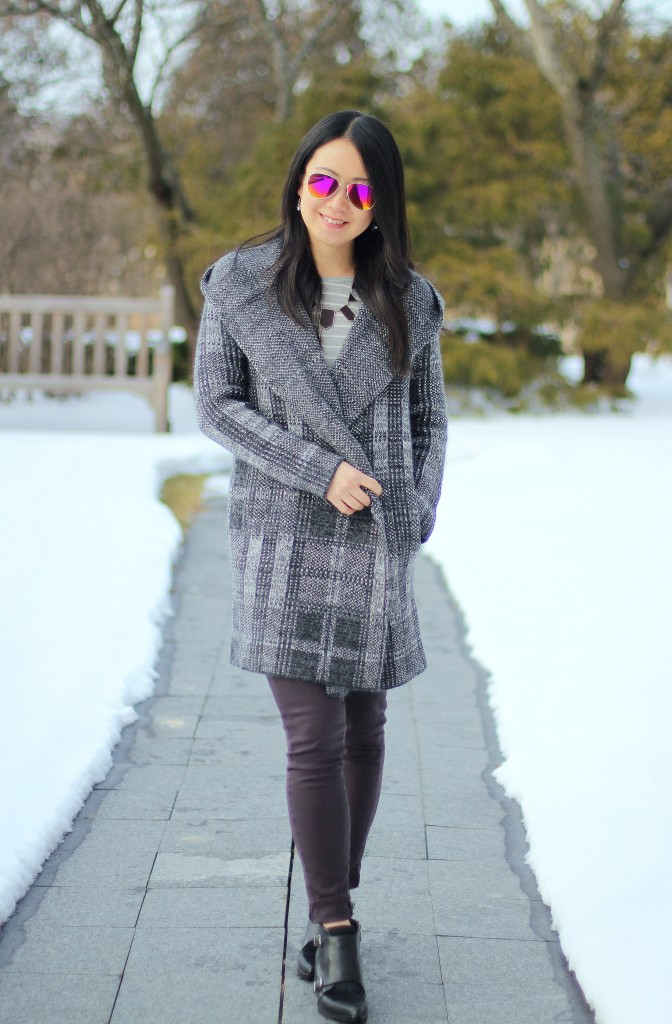 Rachel Roy hooded plaid cardigan, Paige Verdugo ankle jeans, Circus by Sam Edelman Reese ankle boots