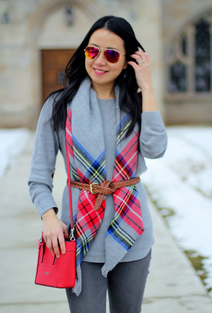 blanket scarf, gray jeans, gray sweater, grey, red bag