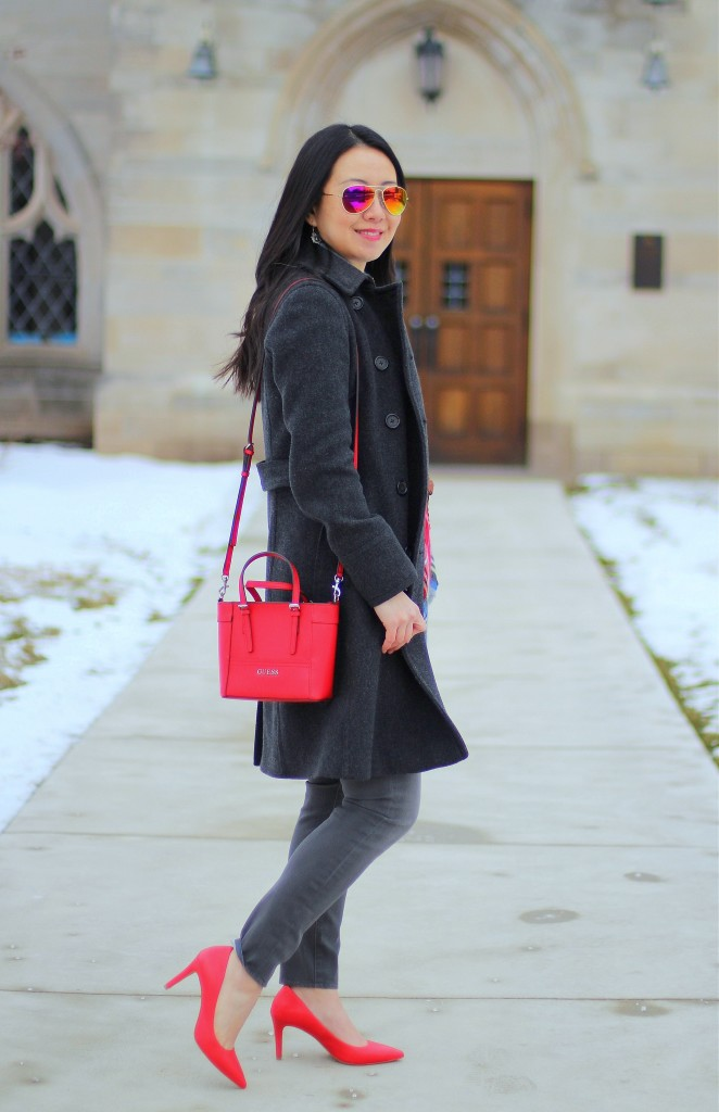 blanket scarf, gray jeans, gray sweater, grey, red pumps, red bag, J.Crew wool trench coat