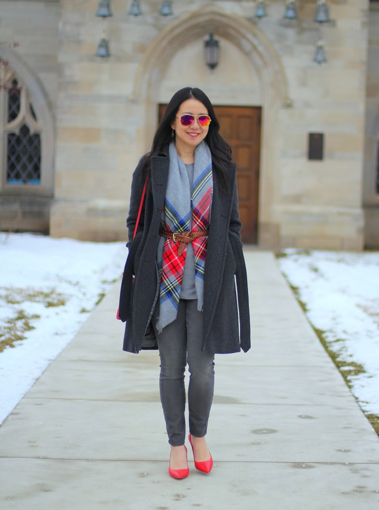 blanket scarf, gray jeans, gray sweater, grey, red bag, red pumps, J.Crew wool trench coat