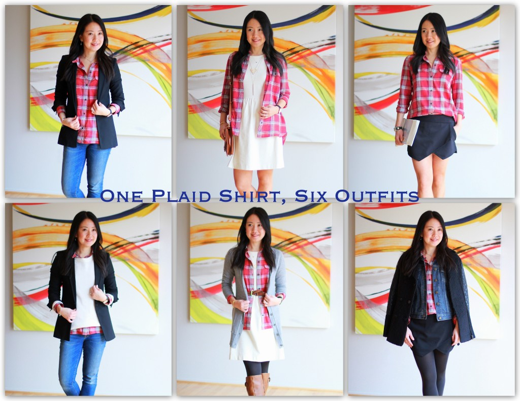 oneplaidshirt6ways_collage2