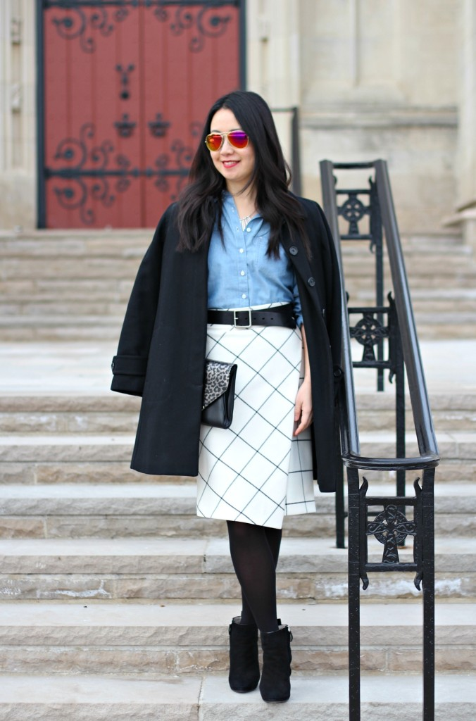 J.Crew wool coat, Zara grid print skirt, Gap chambray shirt, leopard clutch, Zara booties, windowpane