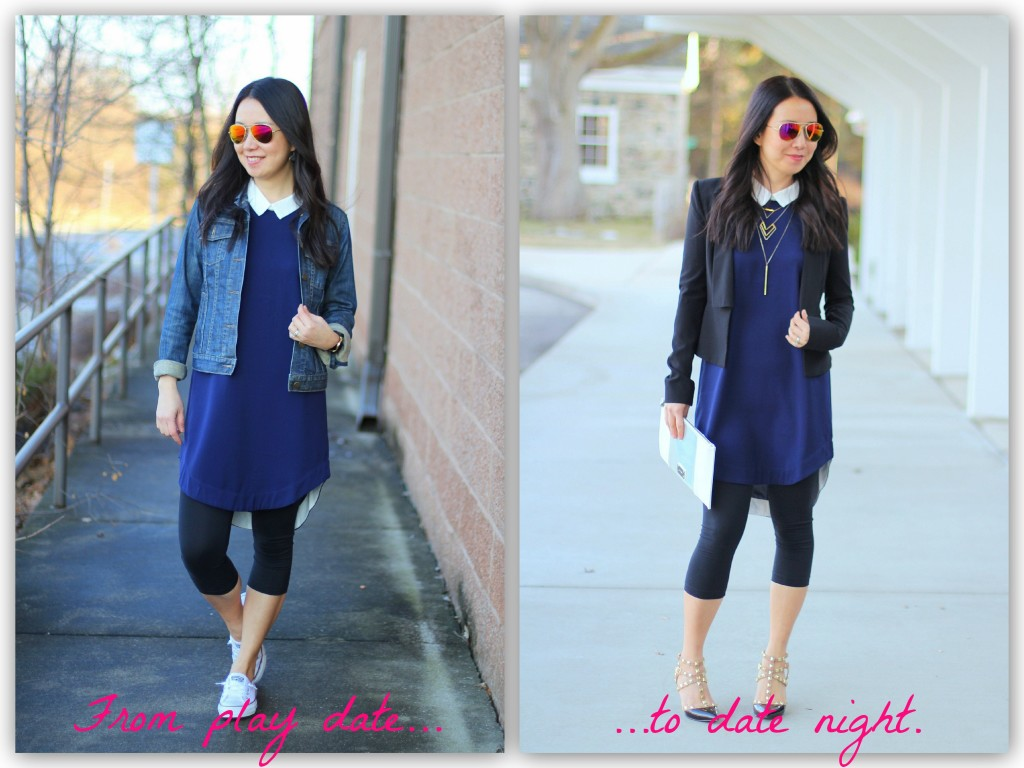Rhea Et Cetera, Addison Boarding School dress, blue dress, tunic, spring layers, layered necklaces, play date look, date night look, collared dress, BCBGeneration studded heels, Converse Chuck Taylors, Gap denim jacket, BCBG structured jacket