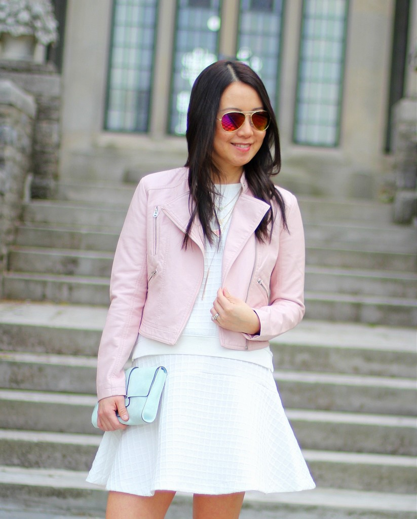 Banana Republic skirt set, Forever 21 pink moto jacket, pastels, spring colors, spring trends, mint