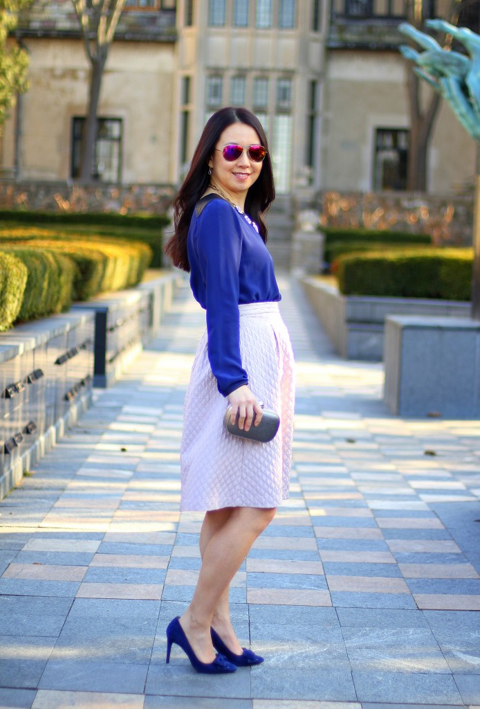 Club Monaco Blouse, Search for Sanity diamond textured circle skirt, lilac, lavender, violet, mauve, spring colors, Easter outfit, Sunday best, Baublebar statement necklace, cobalt blue, bow pumps