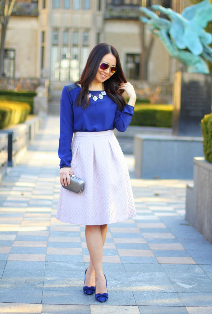 Club Monaco Blouse, Search for Sanity midi skirt, lilac, lavender, spring colors, Easter outfit, statement necklace, cobalt blue, bow pumps