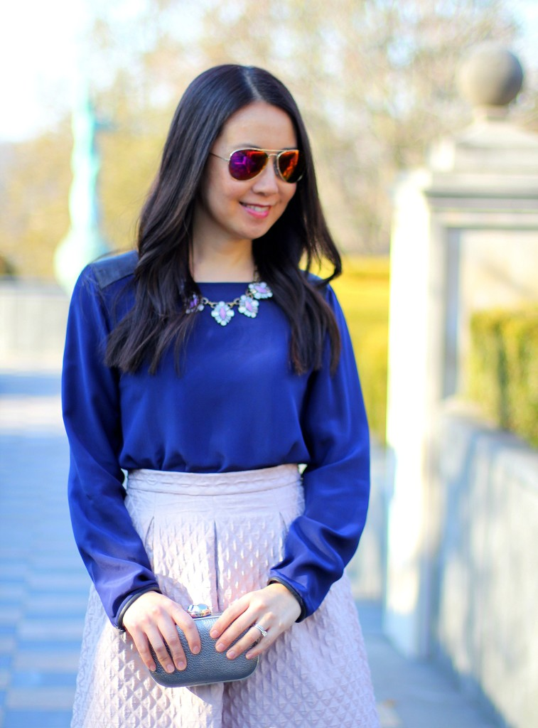 Club Monaco Blouse, Search for Sanity diamond textured circle skirt, lilac, lavender, violet, mauve, spring colors, Easter outfit, Sunday best, Baublebar statement necklace, cobalt blue, box clutch