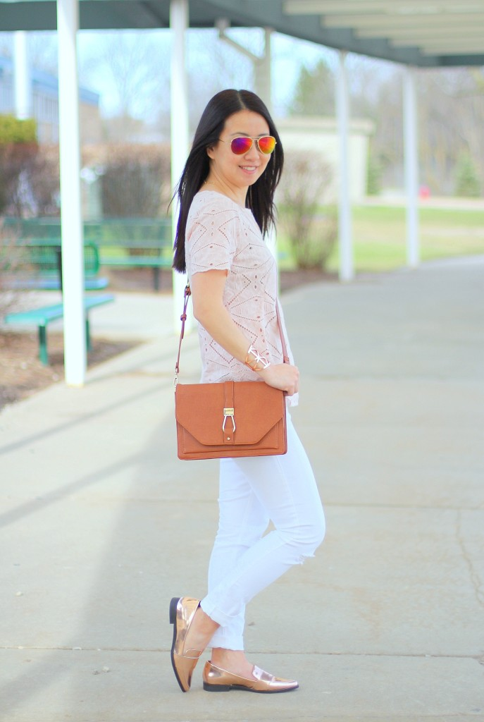 J.Crew geometric eyelet top, white jeans, Forever 21 rose gold loafers, Sole Society Bentley crossbody, spring colors, Kushyfoot, low cut foot covers