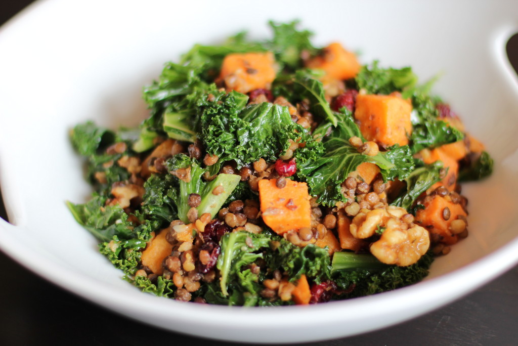 power salad, power foods, health, nutrition, lunch, sweet potatoes, kale, lentils