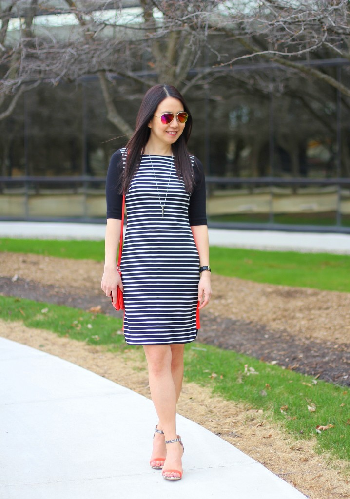 Eliza J stripe dress, black and white stripes, orange, Banana Republic Envelope crossbody, strap sandal, spring trends