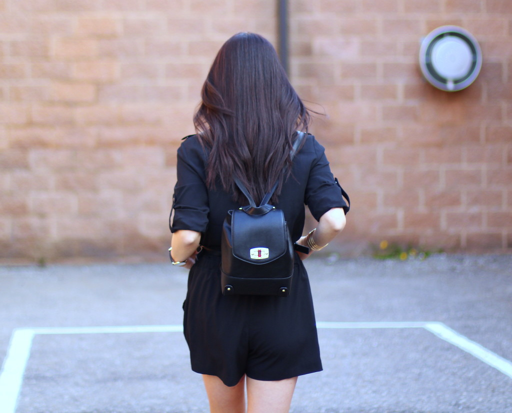 Banana Republic romper, Target Merona backpack, Guess Jily caged sandal, Madewell knotshine necklace, spring trends, all black look, Redbook Real Women Style Awards
