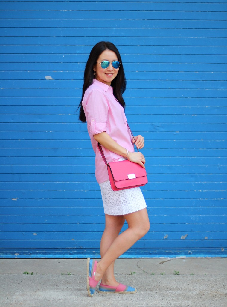 beach casual, Gap shirt, J.Crew Factory eyelet skirt, Target crossbody, red and white, Soludos espadrilles, spring colors