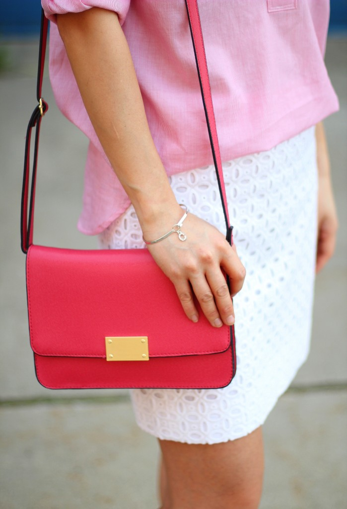 beach casual, Gap shirt, J.Crew Factory eyelet skirt, Target crossbody, red and white, spring colors