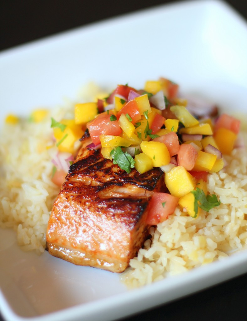 Slow-Roasted Chipotle Salmon with Pineapple Rice and Mango Salsa