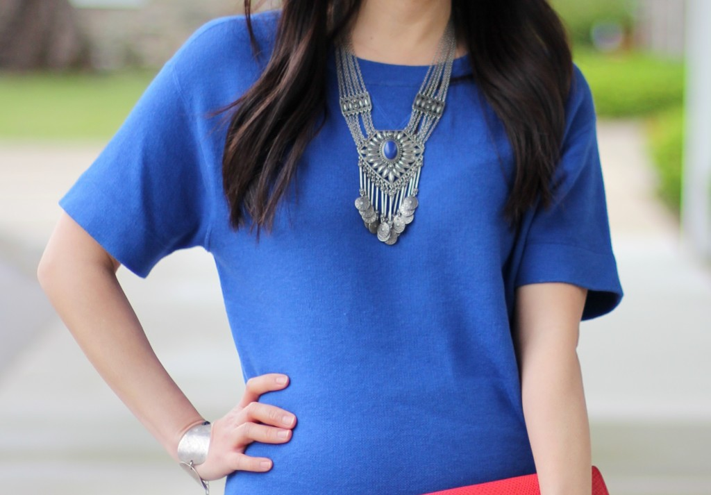 statement necklace, Forever 21 tribal-inspired layered necklace, cobalt blue top, Banana Republic clutch
