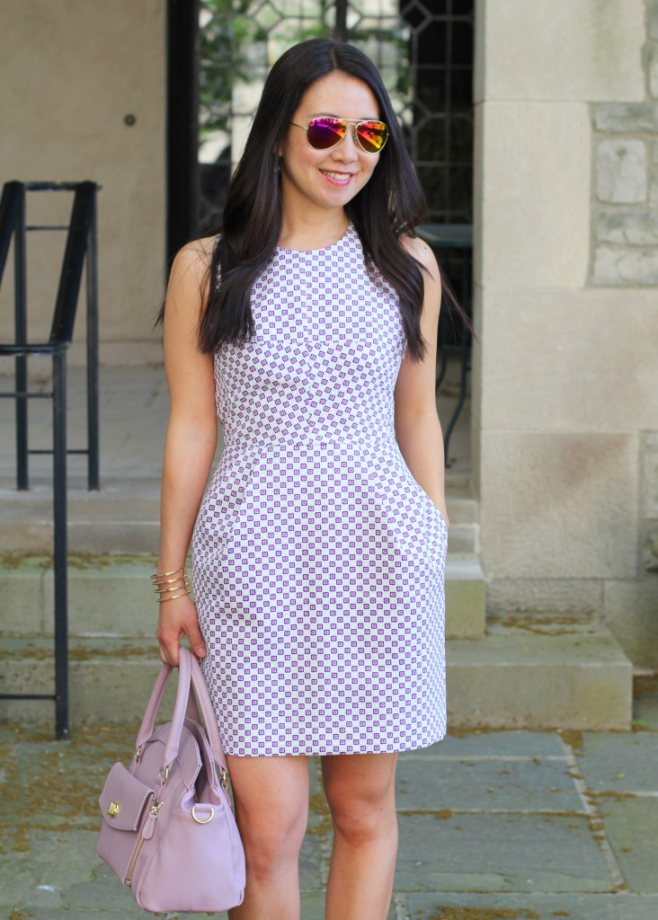 Jordana Paige, Cora bag, Club Monaco Salma open back dress, summer dress, lavender bag, clutch, geometric print, structured dress, structured bag, architectural dress
