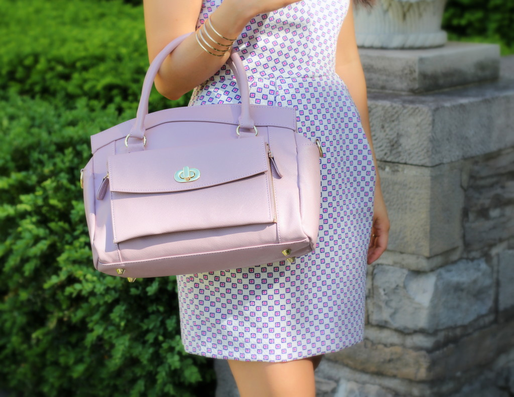 Club Monaco Salma Dress, Jordana Paige Cora bag, lavender, summer dress, geometric print, structured bag, architectural dress