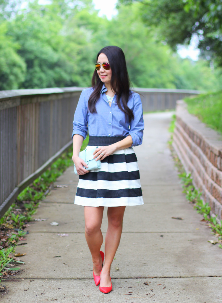 chambray shirt, black and white, stripe skirt, red pumps, mint clutch, iconic look