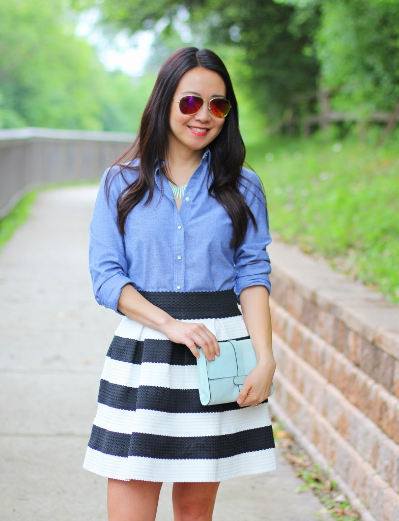 chambray shirt, black and white, stripe skirt, mint clutch, iconic look