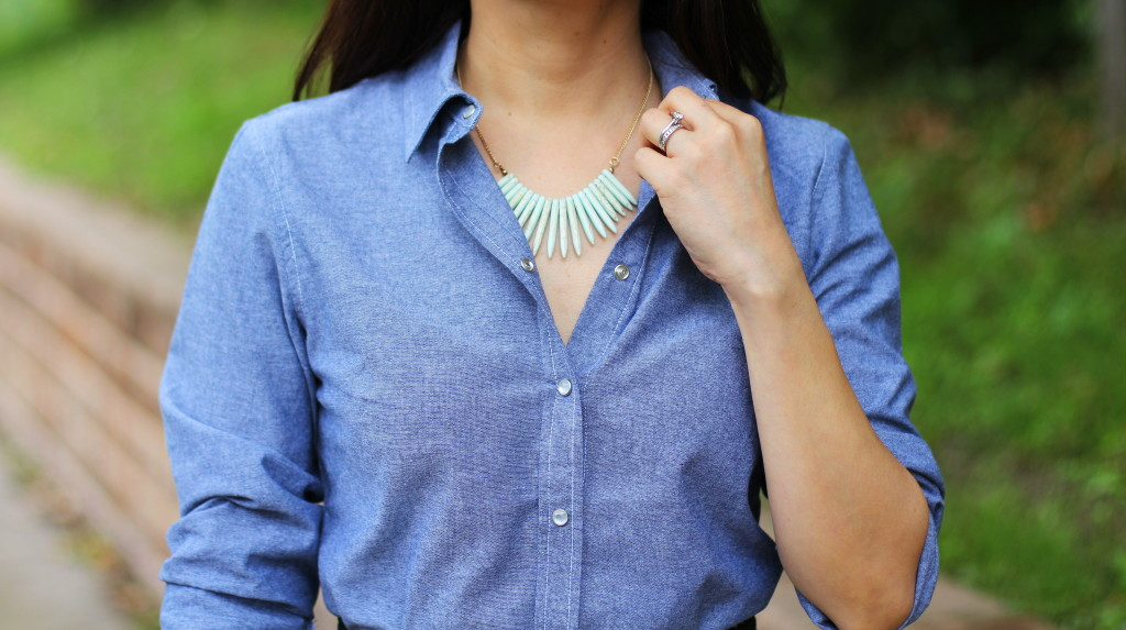chambray shirt, iconic look, tribal mint necklace