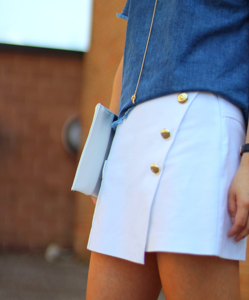 nautical, Zara, white skort, denim cutoff top, macarons, Macaron Cafe