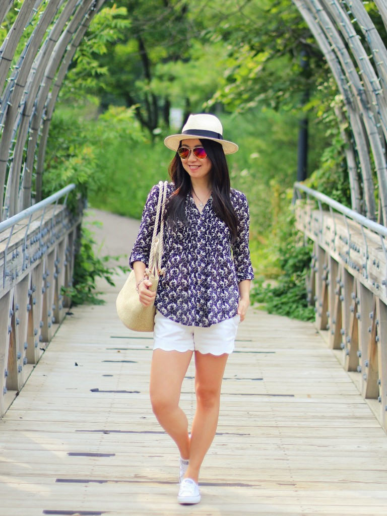 summer fashion, natural fibers, cotton, Anthropologie pintuck button down, Club Monaco scallop hem shorts, All-Star Converse shoreline sneakers, straw hat, straw tote