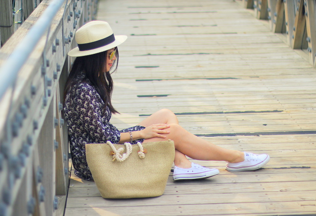 summer fashion, natural fibers, cotton, Anthropologie pintuck button down, Club Monaco scallop hem shorts, All-Star Converse shoreline sneakers, Forever 21 straw hat, straw tote