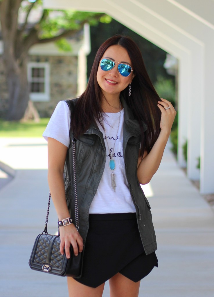 Forever 21 No One is Perfect Tee, Zara skort, utility vest, olive, black, Rebecca Minkoff crossbody, Kendra Scott necklace, turquoise, summer fashion