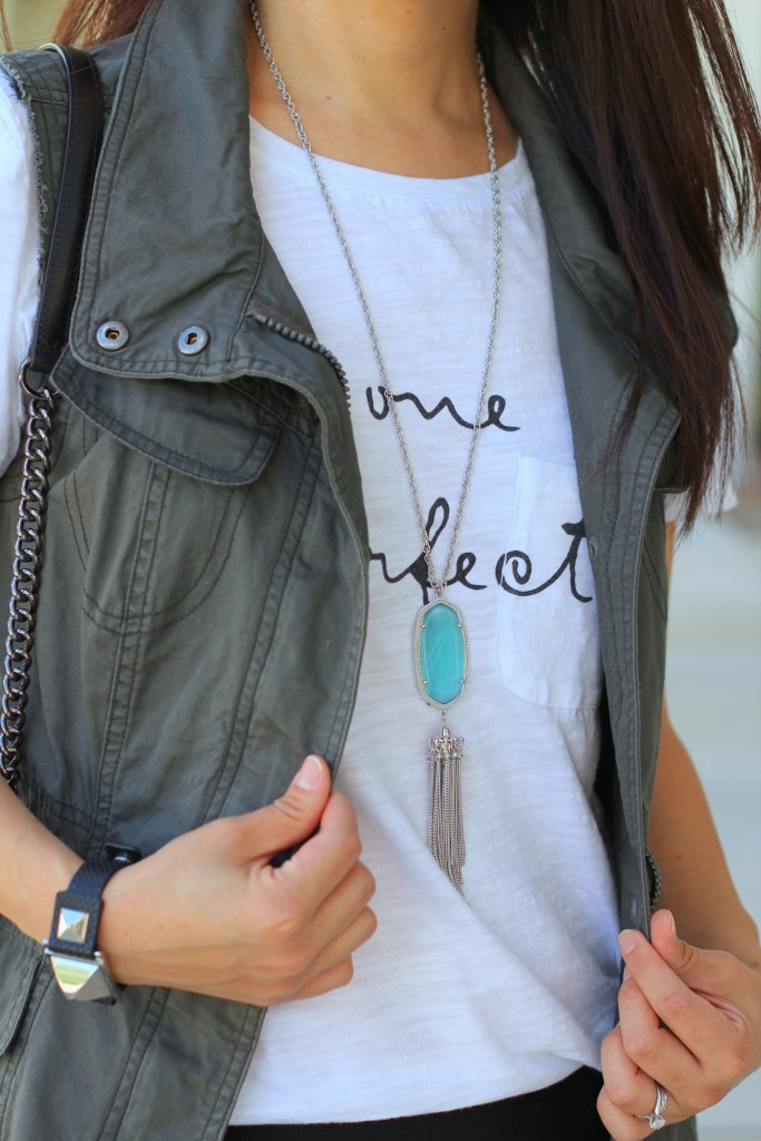 Forever 21 No One is Perfect Tee, utility vest, olive, black, Rebecca Minkoff crossbody, Kendra Scott necklace, turquoise, summer fashion
