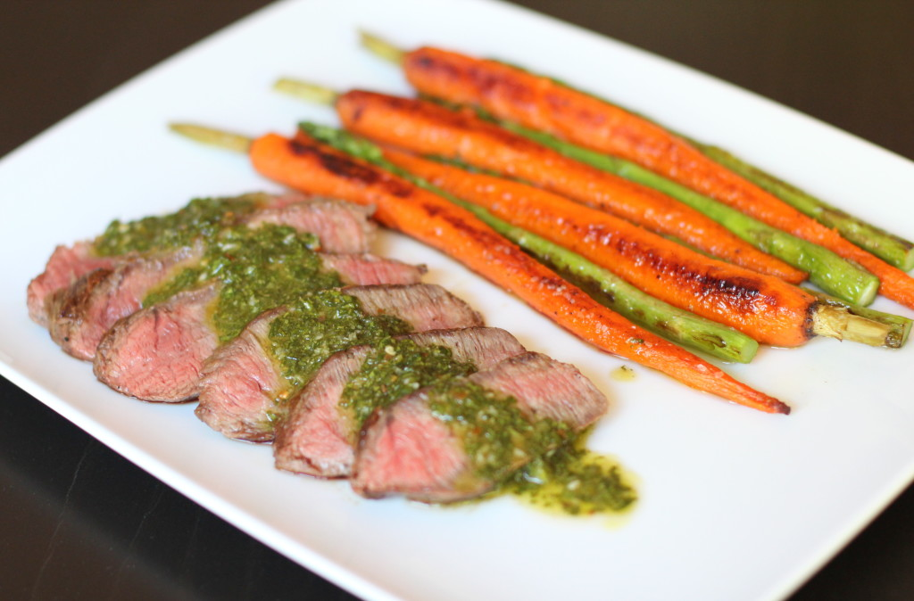 recipe, flat iron steak, chimichurri, grilled vegetables, summer grilling, dinner, main entree, carrots, asparagus