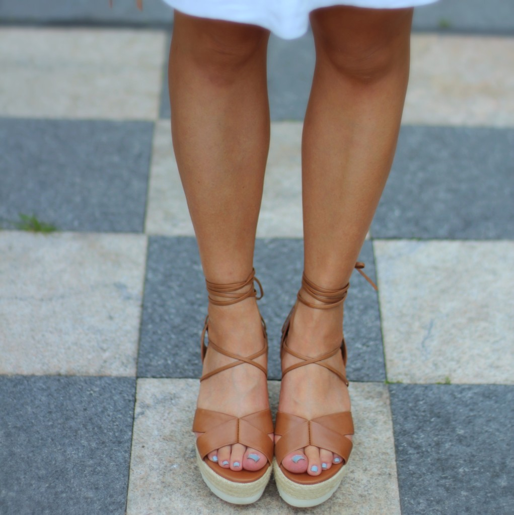 J.Crew Factory linen skirt, Aldo lace-up sandals; summer fashion
