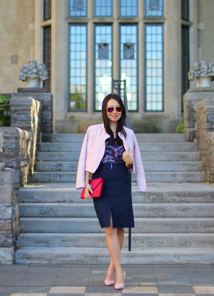 J.Crew navy skirt, Express Barcelona cami, Forever 21 pink leather moto jacket, BCBG burgundy clutch, Louise et Cie blush pump, pink pumps, fall transition, office style, work fashion