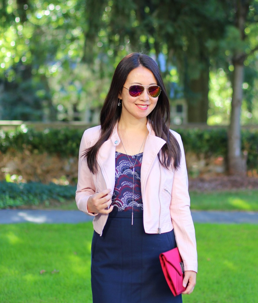 J.Crew navy skirt, Express Barcelona cami, Forever 21 pink leather moto jacket, BCBG burgundy clutch, fall transition, office style, work fashion