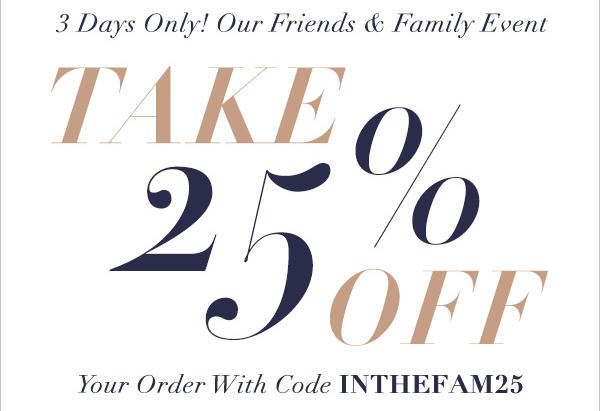Shopbop Friends & Family sale, 25% off discount