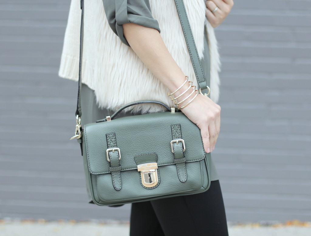 Nordstrom, Lush, olive tunic, Kate Spade olive bag, Madewell chevron necklace, cream fur vest, Express leggings, Zara booties, earth tones, fall colors, fall fashion, casual