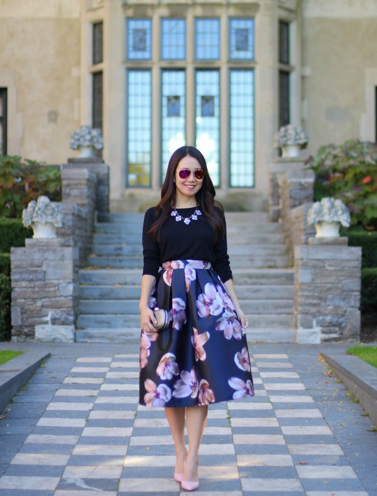 SheIn, SheInside, midi floral skirt, full skirt, holiday outfit ideas, Bauble Bar statement necklace, Zara hi-lo sweater, Louise et Cie Hermosah pumps, box clutch, dressy, feminine fashion, modest fashion