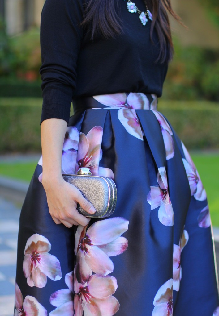 SheIn, SheInside, midi floral skirt, full skirt, holiday outfit ideas, Bauble Bar statement necklace, Zara hi-lo sweater, box clutch, dressy, feminine fashion, modest fashion