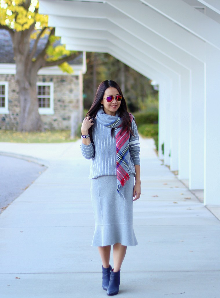 Banana Republic stripe sweater, fishtail skirt, Forever 21 plaid scarf, blue booties, grey, Target backpack, fall fashion, casual chic