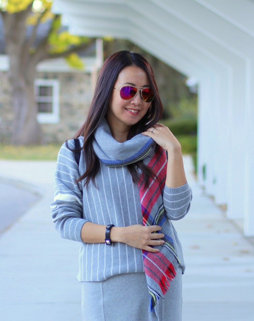 Banana Republic stripe sweater, fishtail skirt, Forever 21 plaid scarf, grey, Target backpack, fall fashion, casual chic