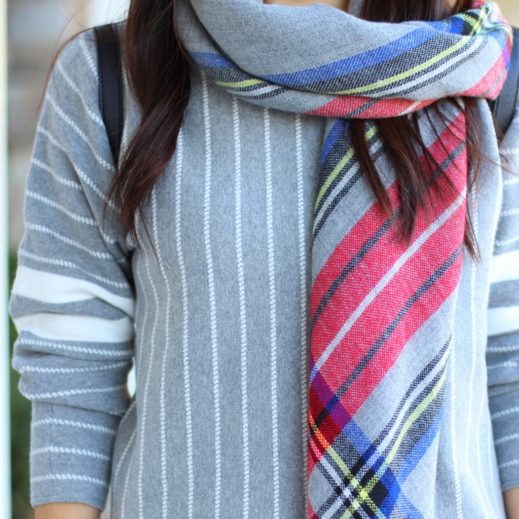 Banana Republic stripe sweater, Forever 21 plaid scarf, grey, fall fashion, casual chic